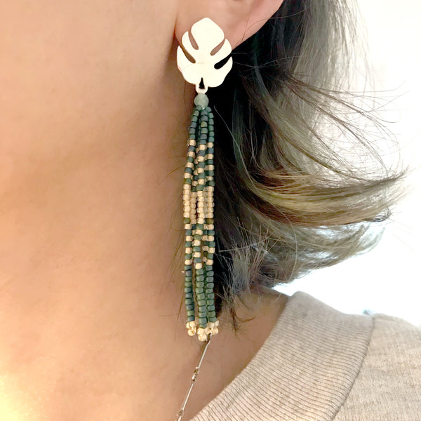 Tropical Monstera Tassel Earrings