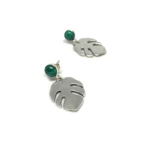 Tropical Monstera and Malachite Earrings