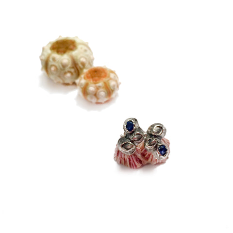 Mini Barnacle Cluster Stud Earrings with Blue Sapphires