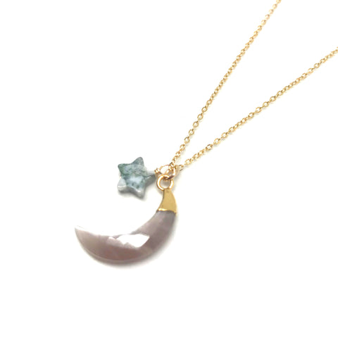 Cosmic Moon and Star Necklace