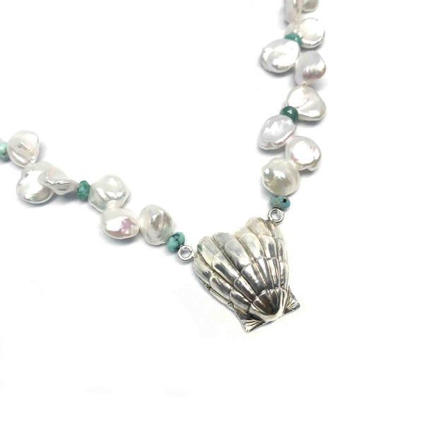 Heart Shell Turquoise and Pearl Necklace