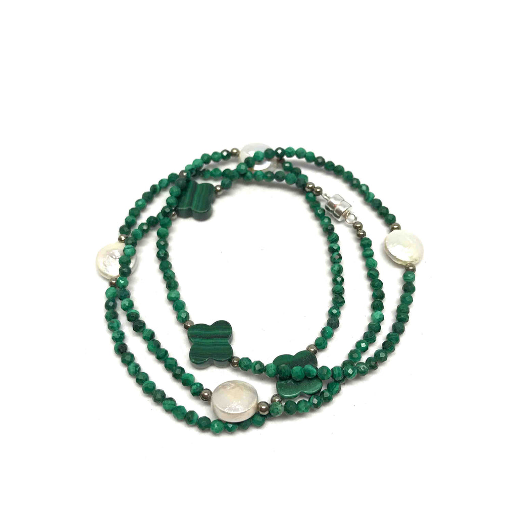 Lucky Clover Malachite Wrap Bracelet/Necklace