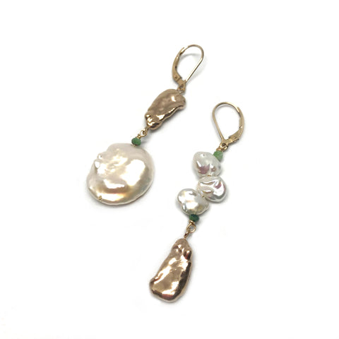 Mismatched Gold Pearl Earrings