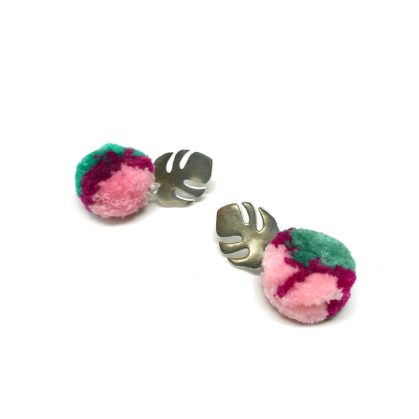 Tropical Monstera and Pom Pom Earrings