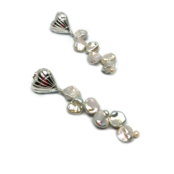 Heart Shell Pearl Strand earrings