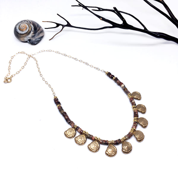 Jasper and Snail Necklace