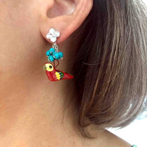 Tropical Bird and Turquoise  Earrings