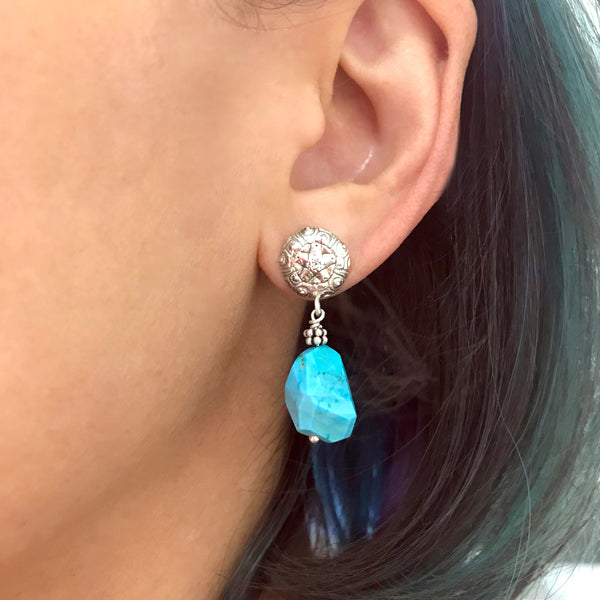 Mandala and Turquoise Earrings