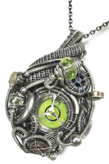 Steampunk Spirit Level Pendant in Sterling Silver with Uranium Glass, made in 2019