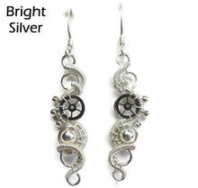 Load image into Gallery viewer, Sterling Silver Woven Steampunk Earrings - Heather Jordan Jewelry