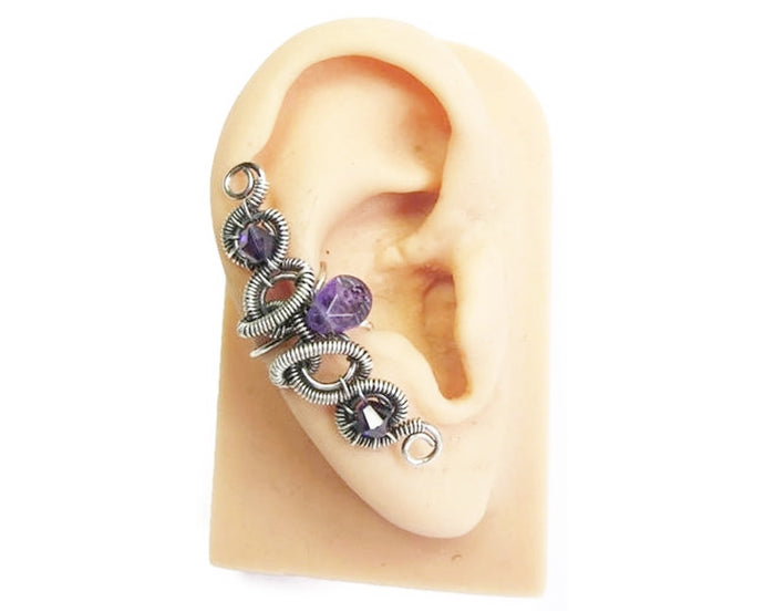 Custom Gemstone & Oxidized Sterling Silver Ear Cuff;