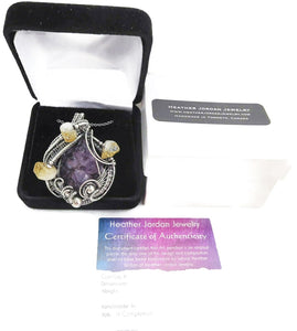 Amethyst Druzy Pendant with Citrine, Wire-Wrapped in Sterling Silver