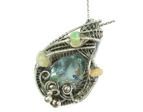 Aquamarine Wire-Wrapped Pendant with Ethiopian Welo Opals