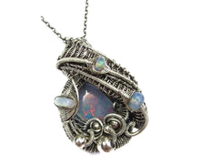 Load image into Gallery viewer, Australian Opal Wire-Wrapped Pendant with Ethiopian Welo Opals