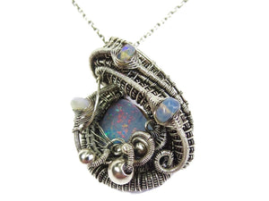 Australian Opal Wire-Wrapped Pendant with Ethiopian Welo Opals