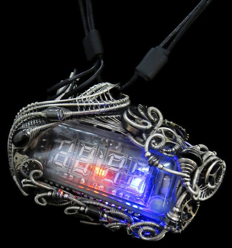 4-Bit Binary Counter Necklace with Upcycled Electronic/Watch Parts, Steampunk/Cyberpunk Fusion