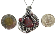 Load image into Gallery viewer, Tiger Iron Pendant, Wire-Wrapped with Red Jasper