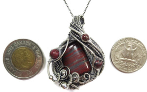 Tiger Iron Pendant, Wire-Wrapped with Red Jasper