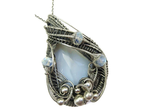 Blue Lace Agate Wire-Wrapped Pendant with Rainbow Moonstone