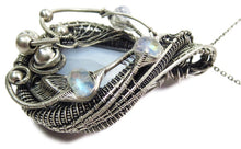 Load image into Gallery viewer, Blue Lace Agate Wire-Wrapped Pendant with Rainbow Moonstone