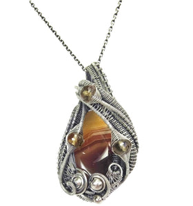 Brazilian Agate Wire-Wrapped Pendant in Sterling Silver with Citrine - Heather Jordan Jewelry