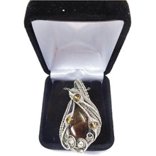 Load image into Gallery viewer, Brazilian Agate Wire-Wrapped Pendant in Sterling Silver with Citrine - Heather Jordan Jewelry