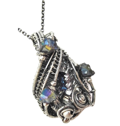 Bismuth Crystal Wire-Wrapped Pendant in Antiqued Sterling Silver with Titanium Quartz Druzies - Heather Jordan Jewelry
