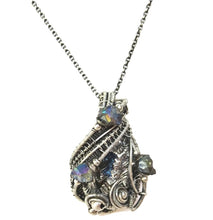 Load image into Gallery viewer, Bismuth Crystal Wire-Wrapped Pendant in Antiqued Sterling Silver with Titanium Quartz Druzies - Heather Jordan Jewelry