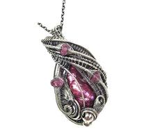 Load image into Gallery viewer, Pink Biwa Stick Freshwater Pearl Wire-Wrapped Pendant in Sterling Silver with Rubellite Tourmaline - Heather Jordan Jewelry