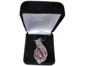 Pink Biwa Stick Freshwater Pearl Wire-Wrapped Pendant in Sterling Silver with Rubellite Tourmaline - Heather Jordan Jewelry