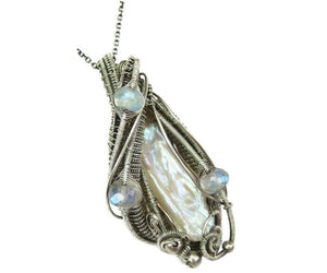 Biwa Stick Freshwater Pearl Pendant in Sterling Silver with Moonstone - Heather Jordan Jewelry