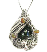 Load image into Gallery viewer, Chrome Diopside Wire-Wrapped Pendant with Ethiopian Opals