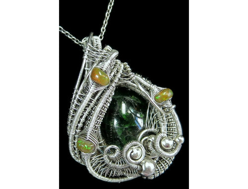 Chrome Diopside Wire-Wrapped Pendant with Ethiopian Opals