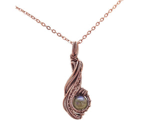 "Custom Gemstone & Copper Wire-Wrapped Pendant; ""Comet"""