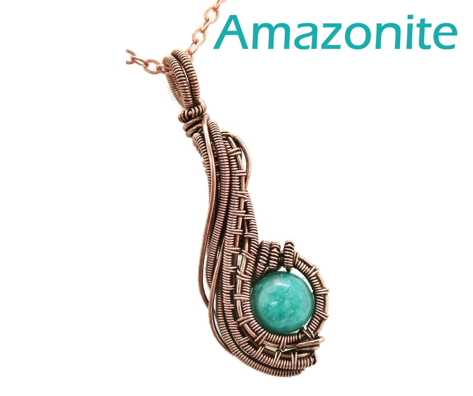 Custom Gemstone & Copper Wire-Wrapped Pendant;