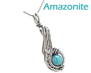 "Custom Gemstone Wire-Wrapped Pendant in Sterling Silver; ""Comet"""
