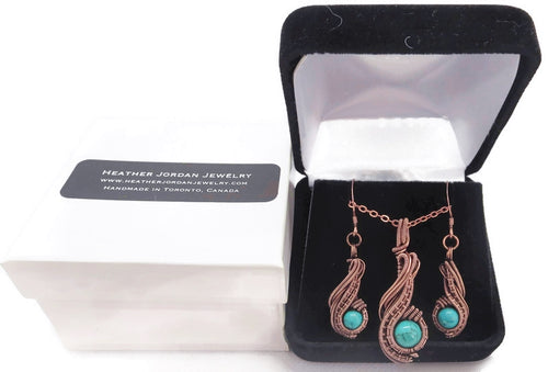 Custom Gemstone and Copper Wire-Wrapped Necklace & Earrings Set;