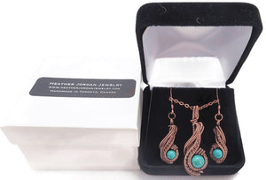 "Custom Gemstone and Copper Wire-Wrapped Necklace & Earrings Set; ""Comet"" Model"