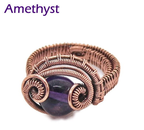 Adjustable Woven Copper Ring with Custom Gemstone;