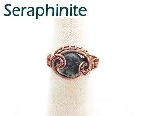 "Adjustable Woven Copper Ring with Custom Gemstone; ""Coriolis"" - Heather Jordan Jewelry"