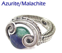 "Load image into Gallery viewer, Adjustable Woven Sterling Silver Ring with Custom Gemstone; ""Coriolis"" - Heather Jordan Jewelry"