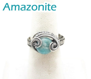 "Adjustable Woven Sterling Silver Ring with Custom Gemstone; ""Coriolis"" - Heather Jordan Jewelry"