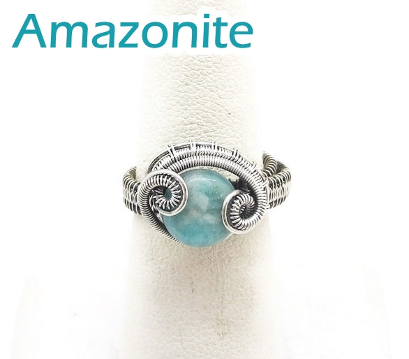 Adjustable Woven Sterling Silver Ring with Custom Gemstone;