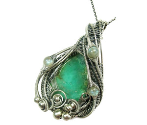 Chrysoprase Wire-Wrapped Pendant in Sterling Silver with Labradorite