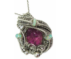Cobaltoan Calcite Druzy Pendant with Ethiopian Opals, Wire-Wrapped in Sterling Silver