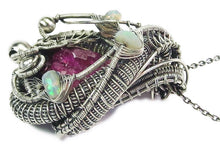 Load image into Gallery viewer, Cobaltoan Calcite Druzy Pendant with Ethiopian Opals, Wire-Wrapped in Sterling Silver