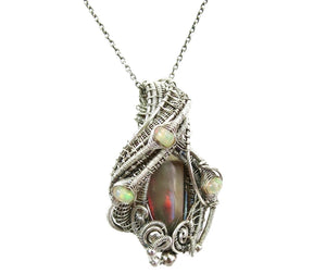 Wire-Wrapped Chocolate Ethiopian Welo Opal Pendant with Ethiopian Welo Opals