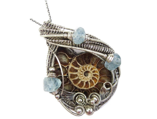 Fossilized Ammonite Wire-Wrapped Pendant with Aquamarine Nuggets