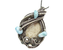 Load image into Gallery viewer, Fossilized Coral Wire-Wrapped Pendant in Sterling Silver with Larimar - Heather Jordan Jewelry