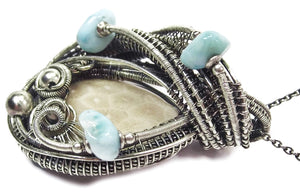Fossilized Coral Wire-Wrapped Pendant in Sterling Silver with Larimar - Heather Jordan Jewelry